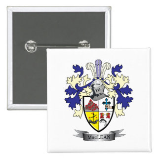 MacLean Family Crest Coat of Arms 2 Inch Square Button
