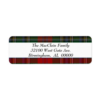 MacLean MacClain Tartan Plaid Return Label Return Address Label