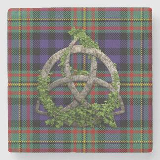 MacLellan Tartan And Celtic Trinity Knot Stone Coaster
