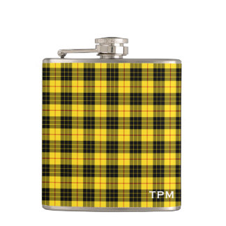 MacLeod Clan Yellow and Black Tartan Monogram Hip Flask