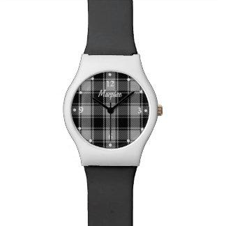 MacPhee Plaid Black and White Custom Wrist Watch