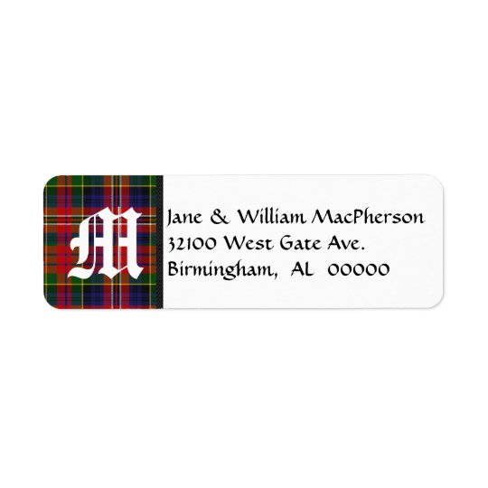 MacPherson Tartan Plaid Monogram Address Labels