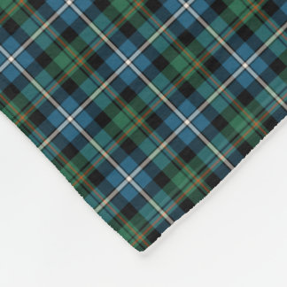 MacRae Clan Green and Blue Hunting Tartan Fleece Blanket