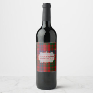 MacRae Tartan Plaid Wedding Wine Label
