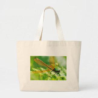 Macro damselfly on fern canvas bag