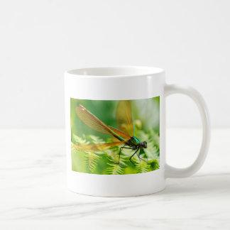 Macro damselfly on fern coffee mugs