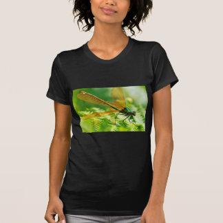 Macro damselfly on fern t shirt