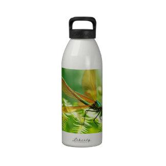 Macro damselfly on fern reusable water bottle