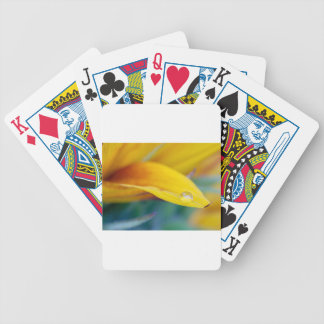 Macro drop on the sunflower petal bicycle playing cards