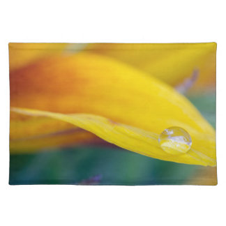 Macro drop on the sunflower petal placemat
