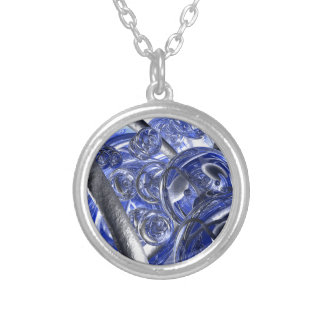 Macro Glass And Steel Bands Silver Plated Necklace