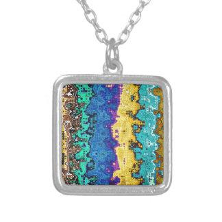 Macro Molecules of Color Silver Plated Necklace
