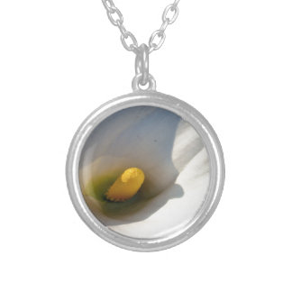 Macro of A Calla Lily With Shadows Silver Plated Necklace