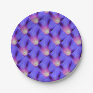 Macro of A Royal Purple Ipomoea Flower Paper Plate
