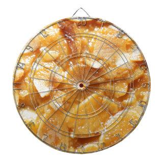 Macro of almond splitters on a cake dartboards