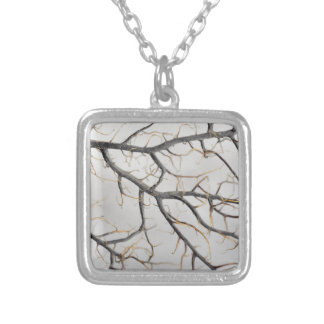Macro photo of a dry gorgonian coral. silver plated necklace