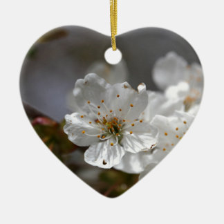 macro photo of cherry flowers ceramic heart ornament