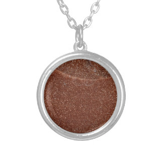 Macro photo of Goldstone glass Silver Plated Necklace