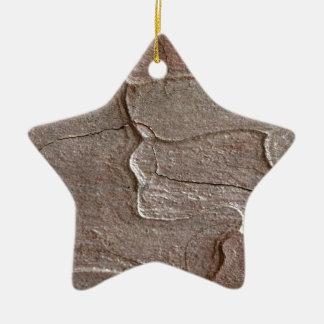 Macro photo of pine bark ceramic star ornament