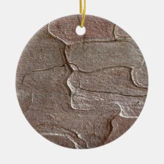 Macro photo of pine bark round ceramic ornament