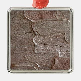 Macro photo of pine bark Silver-Colored square ornament