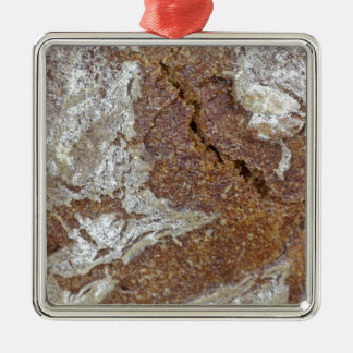 Macro photo of the surface of brown bread from Ger Silver-Colored Square Ornament