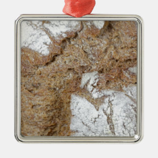 Macro photo of the surface of brown bread Silver-Colored square ornament