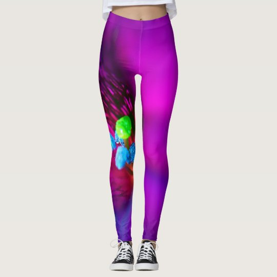 Macro Purple Flower Leggings