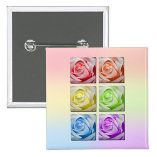 Macro Rainbow Roses 2 Inch Square Button
