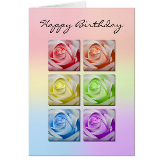 Macro Rainbow Roses Birthday Card