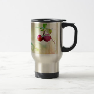 Macro shot of cowberry growing in forest. travel mug