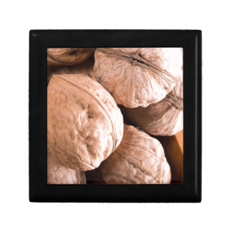 Macro view of a group of old walnuts gift box