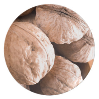 Macro view of a group of old walnuts plate