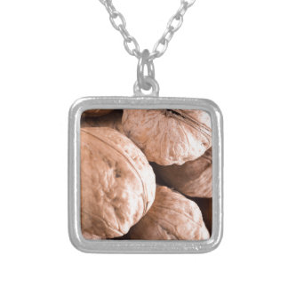 Macro view of a group of old walnuts silver plated necklace
