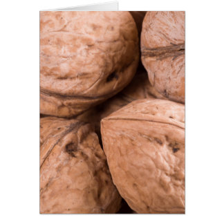 Macro view of a group of walnuts card