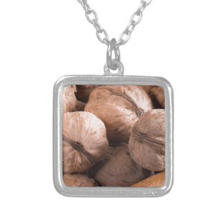 Macro view of a group of walnuts silver plated necklace