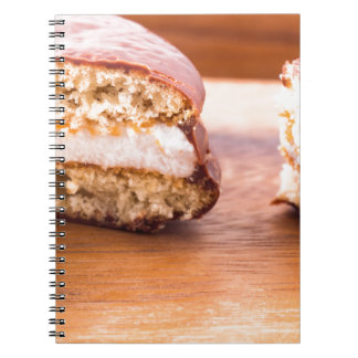 Macro view of the chocolate cookies spiral notebook