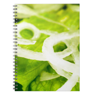 Macro view of the leaves of lettuce and onion ring notebooks