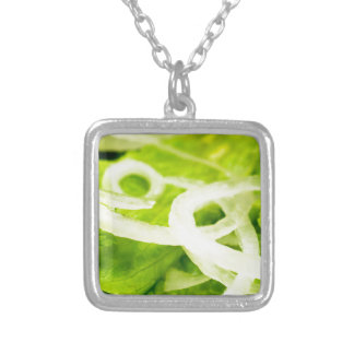 Macro view of the leaves of lettuce and onion ring silver plated necklace