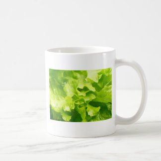 Macro view of the leaves of lettuce in a salad coffee mug