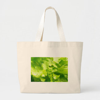 Macro view of the leaves of lettuce in a salad large tote bag