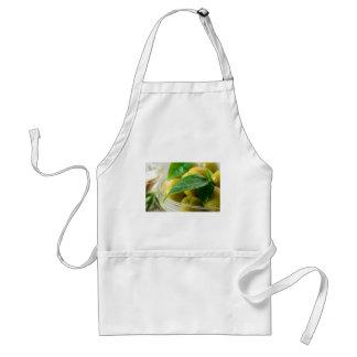 Macro view of the olives with green leaves closeup standard apron