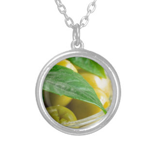 Macro view of the olives with green leaves silver plated necklace