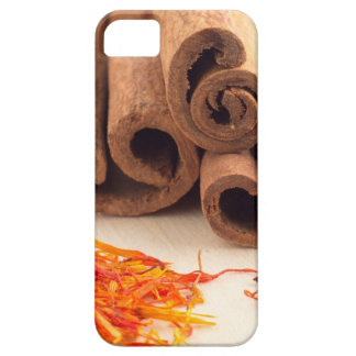 Macro view of the sticks of cinnamon and saffron case for the iPhone 5