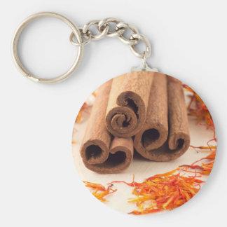 Macro view of the sticks of cinnamon and saffron keychain