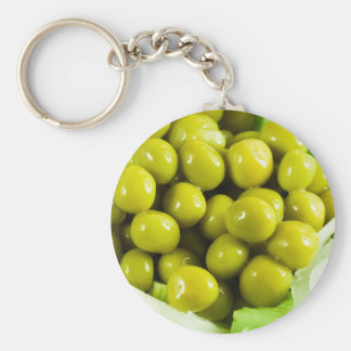 Macro view on a salad of green vegetables basic round button keychain