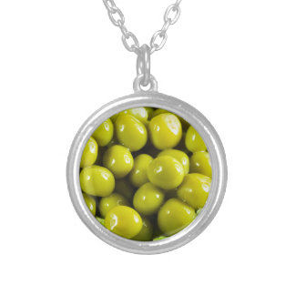 Macro view on a salad of green vegetables silver plated necklace