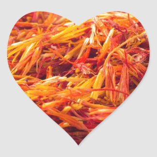 Macro view on fragrant saffron closeup heart sticker