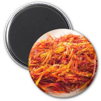 Macro view on fragrant saffron closeup magnet