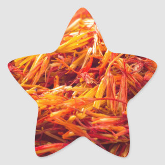 Macro view on fragrant saffron closeup star sticker